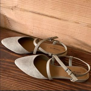 Taupe Tan Flats with Almond Toe & Strap Buckle 8.5